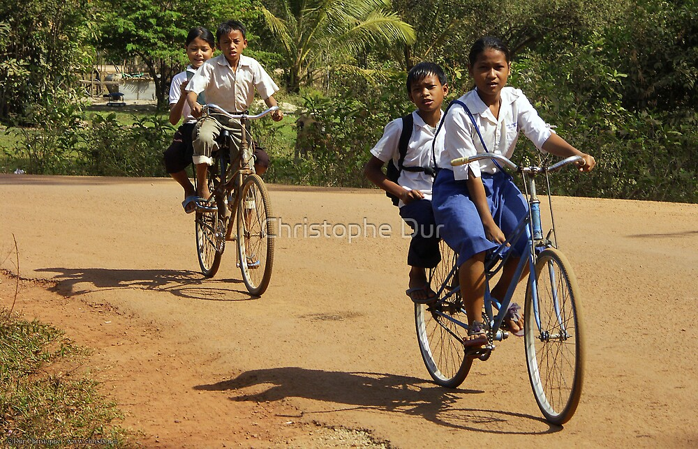 Childs on Bicycles - Cambodia by Christophe Dur
