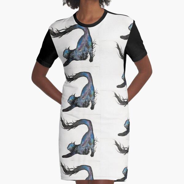 Galaxy Aurora Mountain Cat Graphic T-Shirt Dress