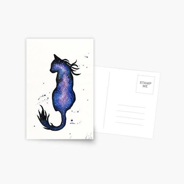 Purple Nebula Cat Postcard