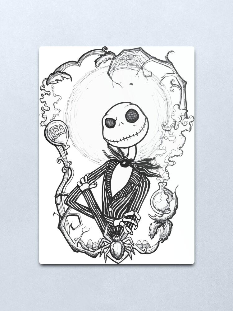 Happy Halloween Jack Skellington Metal Print By Fehrti Redbubble