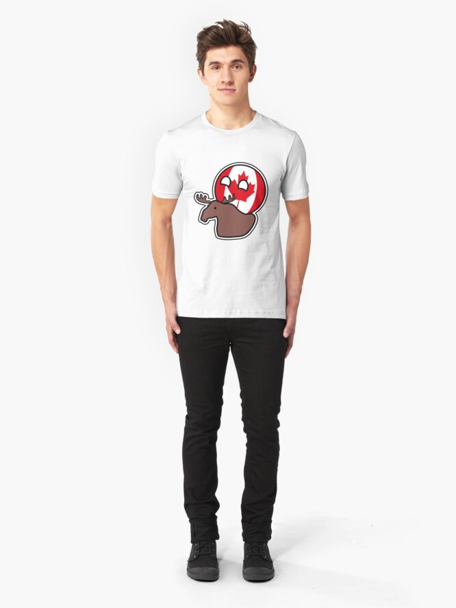 Alternate view of Canadaball - riding Moose, Countryball / Polandball Slim Fit T-Shirt