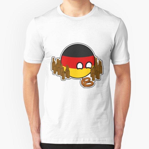 Germanyball Polandball Countryball w/ Beer and Pretzels Slim Fit T-Shirt