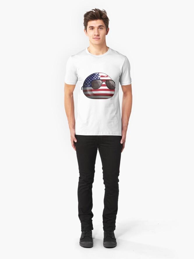 Alternate view of Americaball, Muricaball, USAball Polandball Countryball Slim Fit T-Shirt