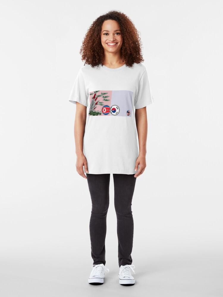 Alternate view of DPKR Koreaball conflict with USAball   Polandball Countryball Slim Fit T-Shirt