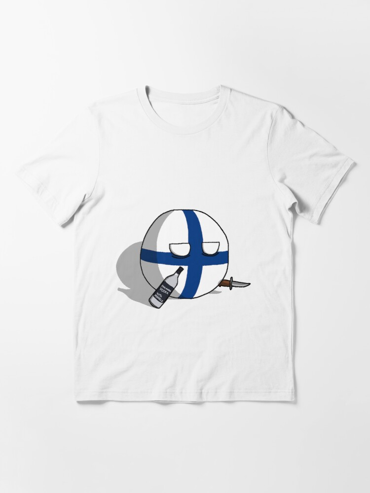 Alternate view of PERKELE, Finlandball with Knife and Bottle | Polandball's Countryballs Essential T-Shirt