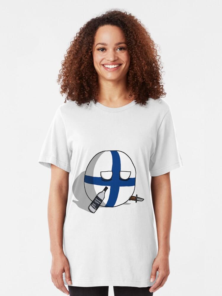 Alternate view of PERKELE, Finlandball with Knife and Bottle | Polandball's Countryballs Slim Fit T-Shirt