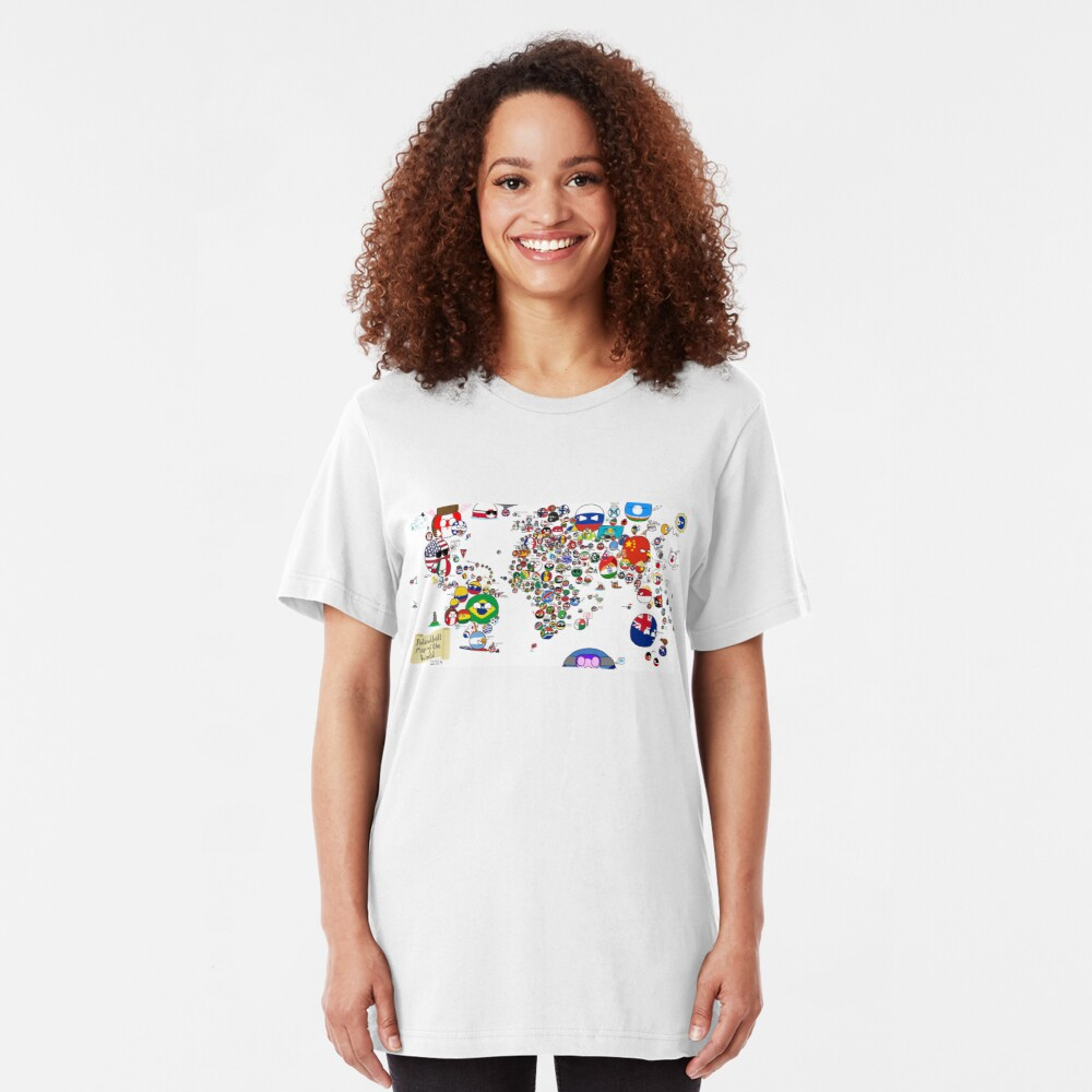 Polandball Countryball World Map Slim Fit T-Shirt