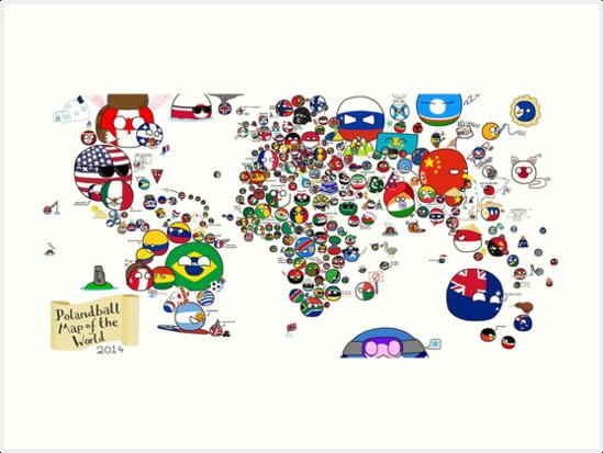 Polandball Map Of The World 2017.Polandball Countryball World Map Art Prints By Poland Ball Redbubble