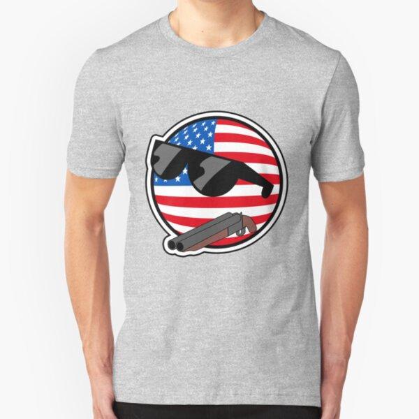 Muricaball (USAball) With Gun - Polandball's Countryballs Slim Fit T-Shirt
