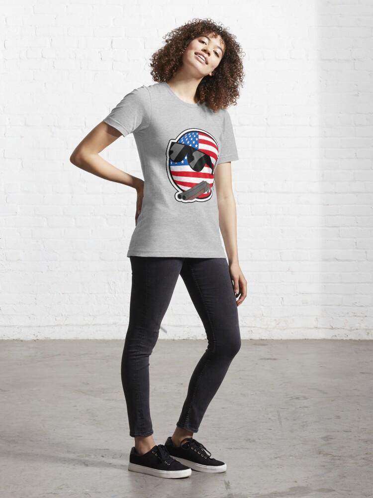 Alternate view of Muricaball (USAball) With Gun - Polandball's Countryballs Essential T-Shirt