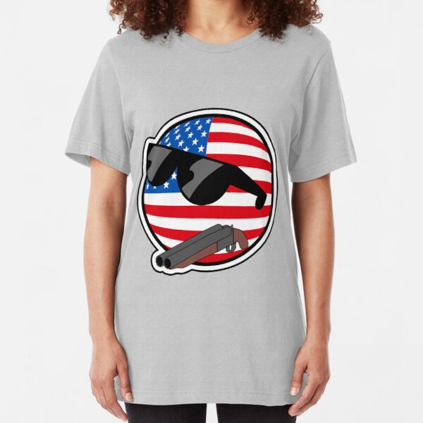 Muricaball (USAball) With Gun - Polandball's Countryballs Slim Fit T-Shirt