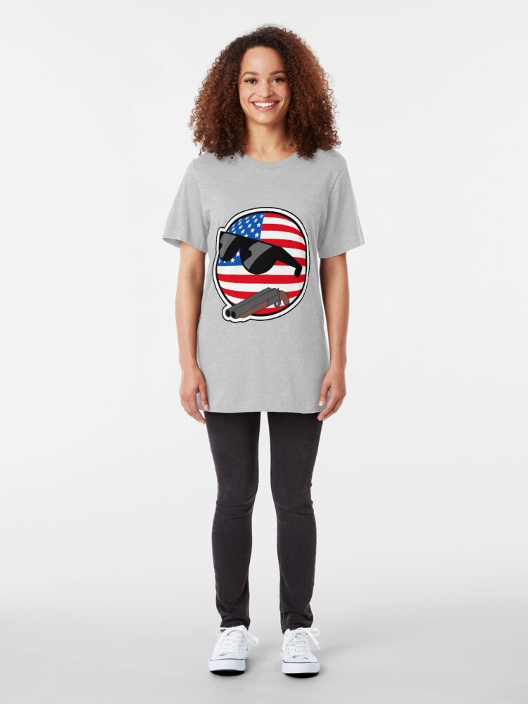 Alternate view of Muricaball (USAball) With Gun - Polandball's Countryballs Slim Fit T-Shirt