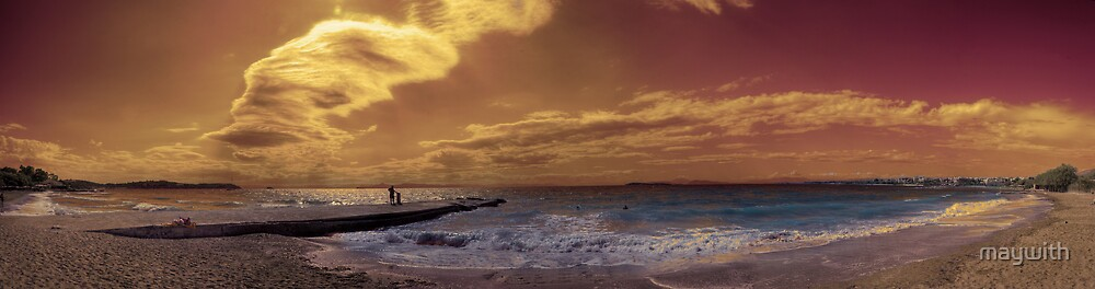 Panorama of beach at Voula, Greece (Athens) by maywith