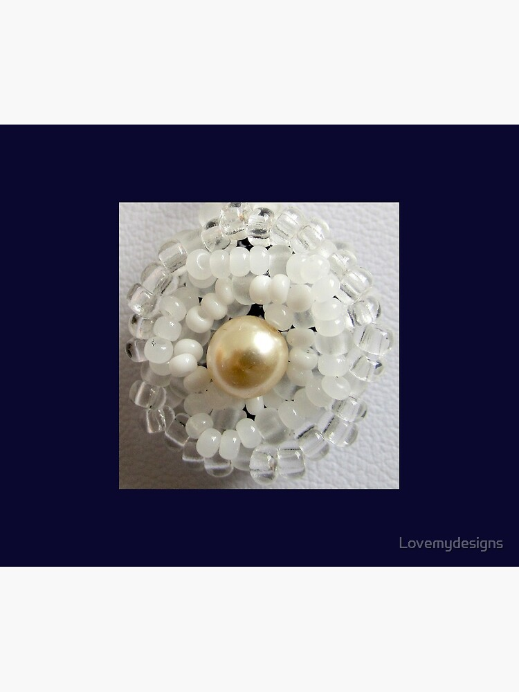 Christmas design White beaded flower by Lovemydesigns