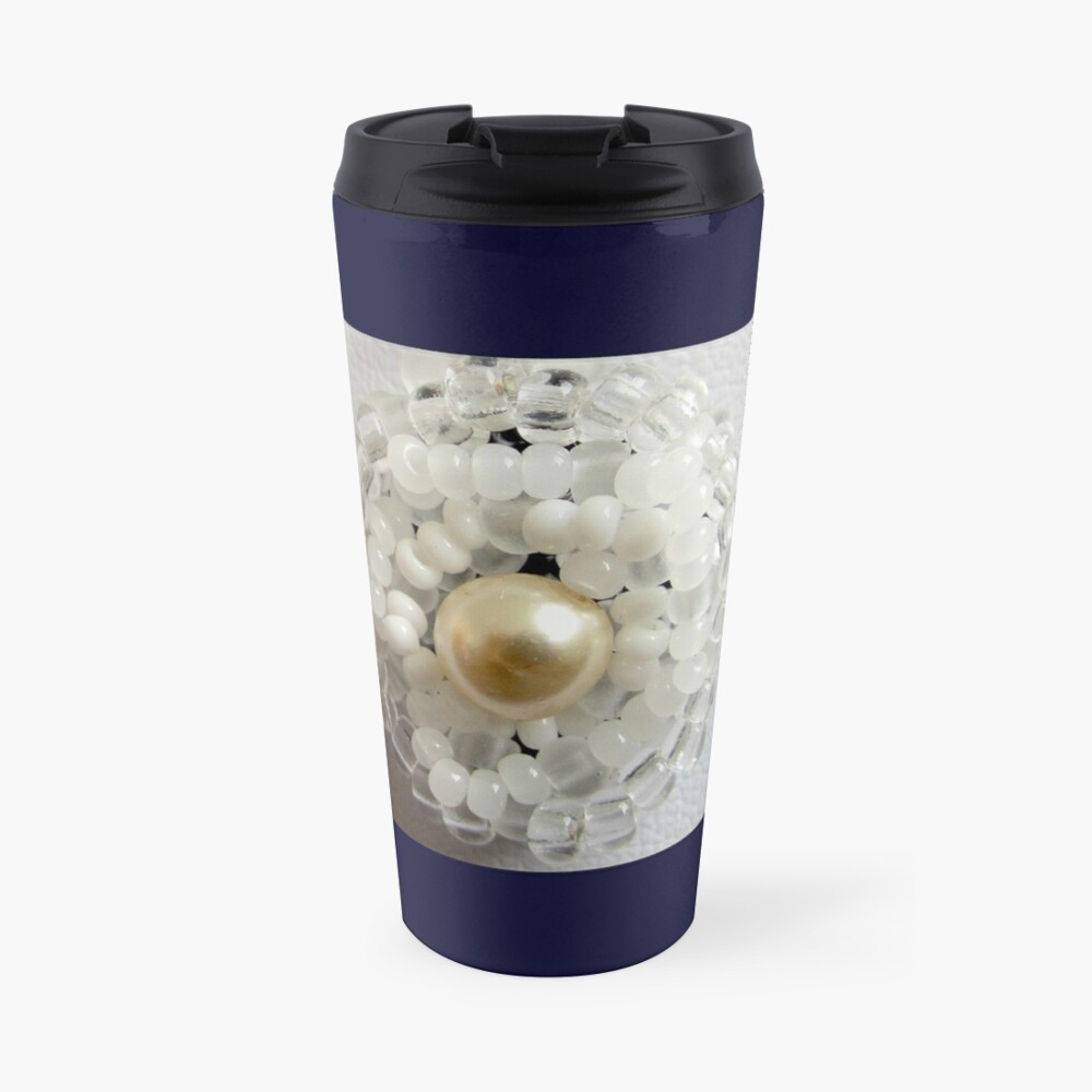 Christmas design White beaded flower Travel Mug