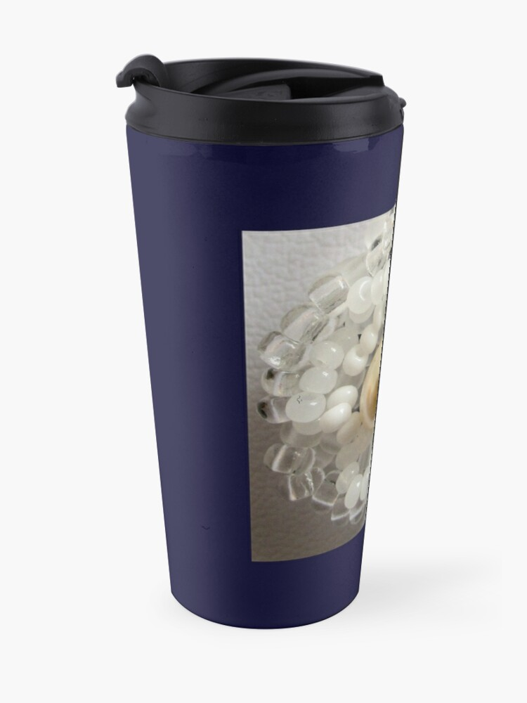 Alternate view of Christmas design White beaded flower Travel Mug
