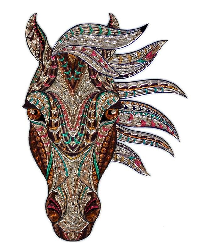 Pferd mandala zeichnung von gg7787 redbubble - Mandala de chevaux ...