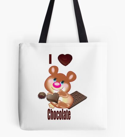 Teddy I Love chocolate  (6370  Views) Tote Bag