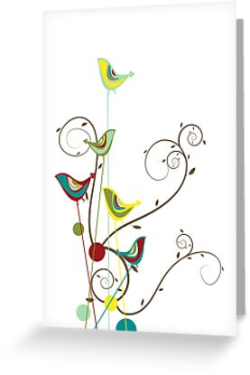 Colorful Whimsical Summer Birds and Swirls by fatfatin