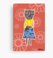 Red Glasses Kitty Canvas Print