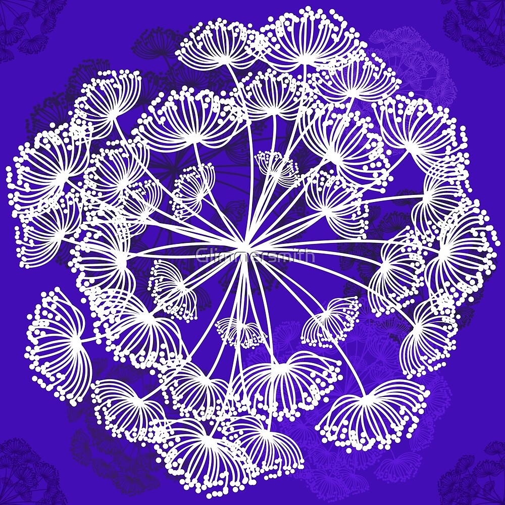 Floral Pattern, Queen Annes Lace, bright purple by Glimmersmith