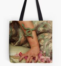 Rose Petals, Verdigris serpent, detail Pre-Raphaelite painting Tote Bag