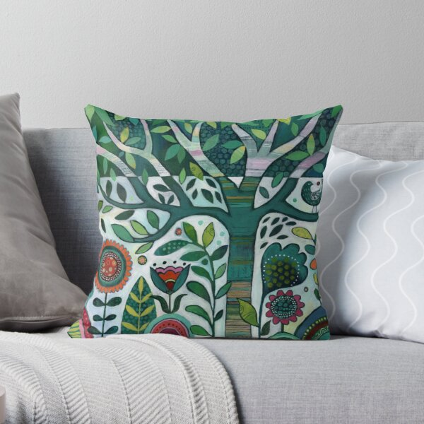 Leafy Garden Throw Pillow