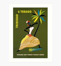 Vintage Trinidad and Tobago Caribbean woman travel advert Art Print