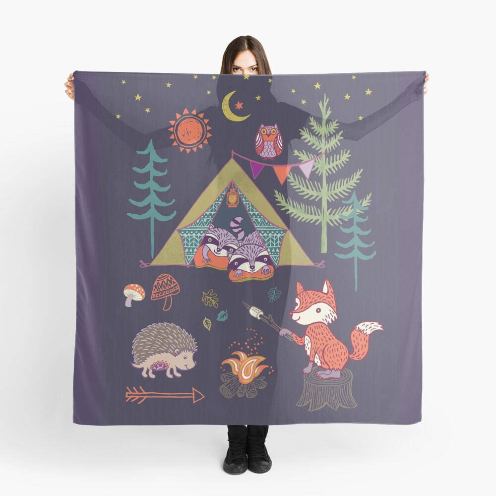 Woodland Animals Campout Scarf