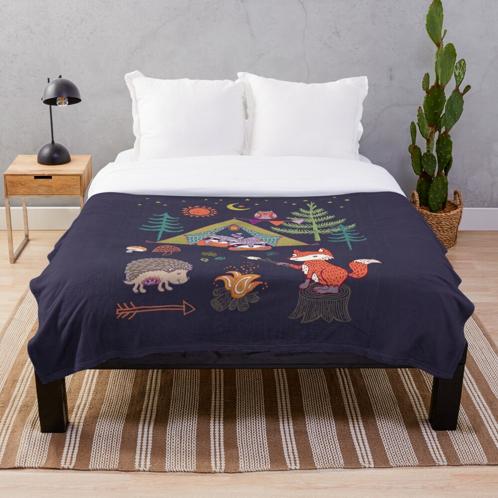 Woodland Animals Campout Throw Blanket