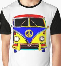 Peace Bus - Red, Yellow, and Blue Graphic T-Shirt