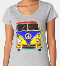 Peace Bus - Red, Yellow, and Blue Women's Premium T-Shirt