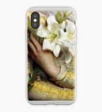 Frau, die Präraffaelitenmalerei des Details der weißen Lilien erfasst iPhone-Hülle & Cover