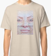 Pretty girl face against transparent water drips as background. Classic T-Shirt