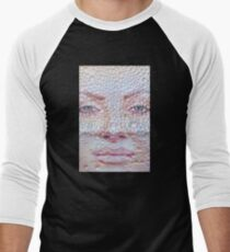 Pretty girl face against transparent water drips as background. Men's Baseball ¾ T-Shirt