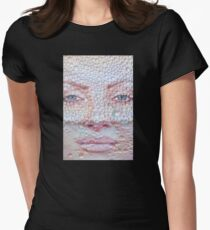 Pretty girl face against transparent water drips as background. Women's Fitted T-Shirt