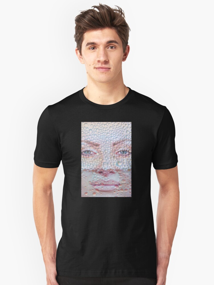 Pretty girl face against transparent water drips as background. Unisex T-Shirt Front