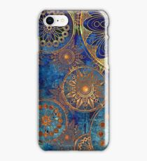 abstract gold blue cogwheels pattern iPhone Case/Skin