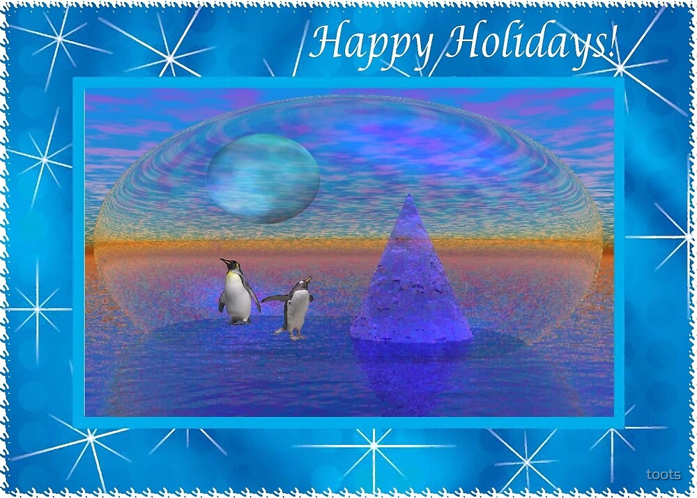 Penguins in a 3d Look World, Happy Holidays by toots
