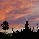 Temple in sunset - Cambodia by Christophe Dur