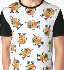 Happy Robot Pattern Graphic T-Shirt