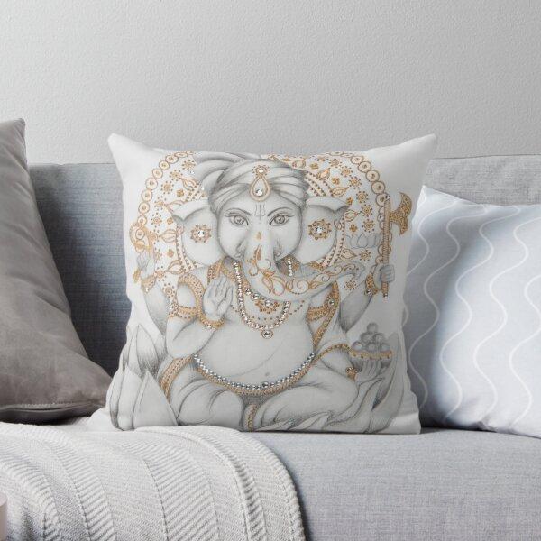 Golden Ganesh Throw Pillow