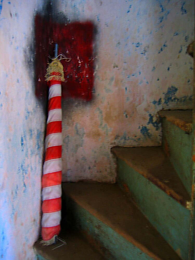 Flag, staircase, Abandoned House by fauselr