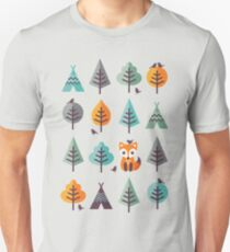 Fox in the Forest - on Gray T-Shirt