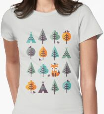 Fox in the Forest - on Gray Women's Fitted T-Shirt
