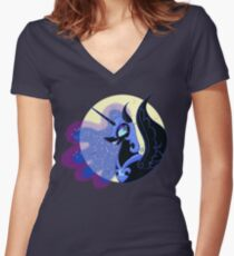 Nightmare Moon - no background Women's Fitted V-Neck T-Shirt