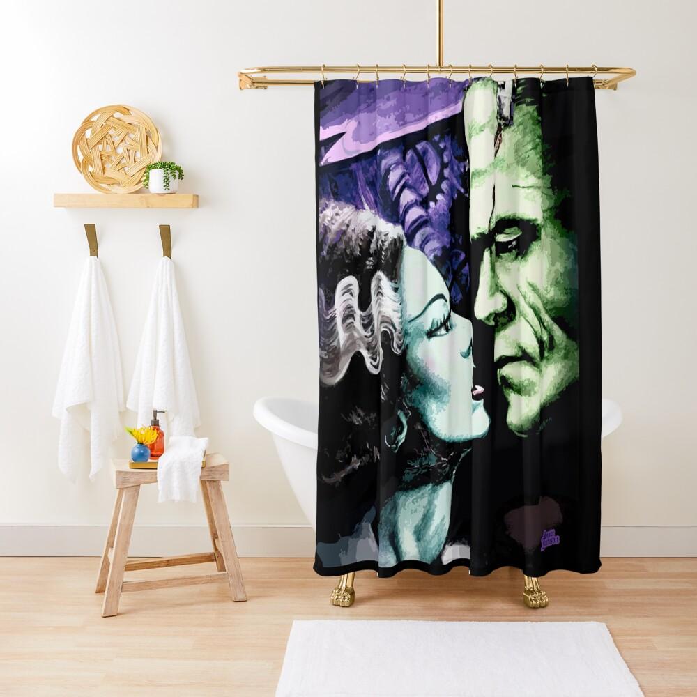 Bride & Frankie Monsters in Love Shower Curtain