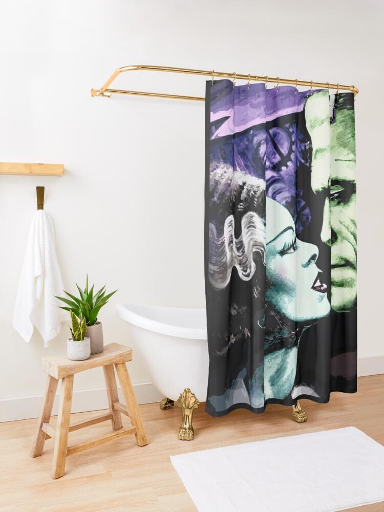 Alternate view of Bride & Frankie Monsters in Love Shower Curtain