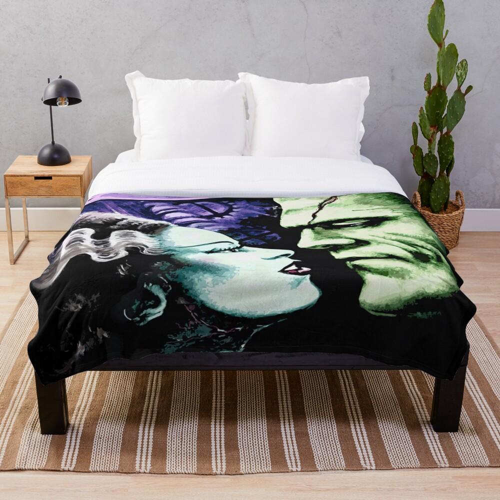 Bride & Frankie Monsters in Love Throw Blanket