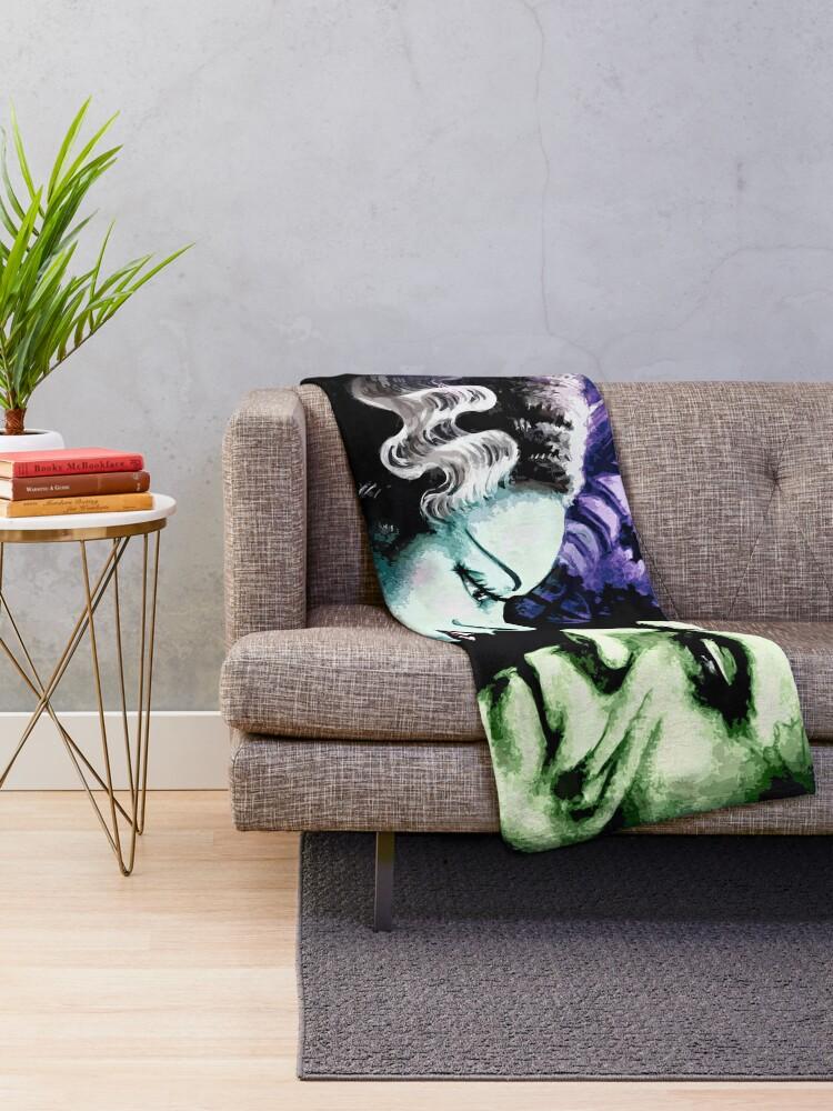 Alternate view of Bride & Frankie Monsters in Love Throw Blanket